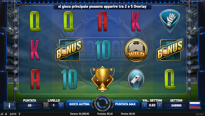 La video slot di Netent - Football: Champions Cup