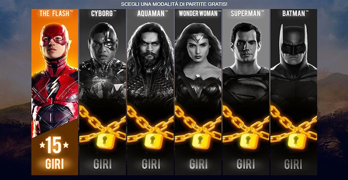 I free spin della slot machine Justice League